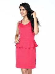 Vero Moda Coral Pink Peplum Dress