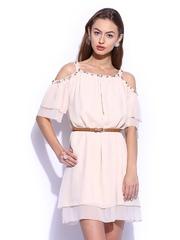 Vero Moda Marquee by Karan Johar Peach-Coloured Cut-Out Dress
