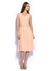 Vero Moda Marquee by Karan Johar Peach-Coloured Fit & Flare Dress