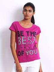 Vero Moda Women Fuchsia Pink Printed Luella T-shirt