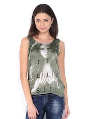 Vero Moda Women Grey & Cream Coloured Printed Top