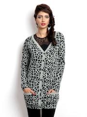 Vero Moda Women Grey Melange Leopard Print Lucia Cardigan