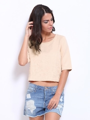 Vero Moda Women Light Peach Coloured Crop Top
