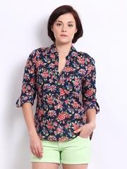 Vero Moda Women Navy & Pink Floral Print Top