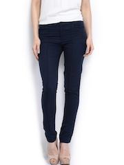 Vero Moda Women Navy Linen Blend Trousers