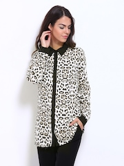 Vero Moda Women Off-White & Black Leopard Print Shirt