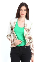 Vero Moda Women Off-White & Brown Printed Blazer