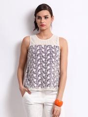 Vero Moda Women Off-White & Purple Embroidered Tolly Top
