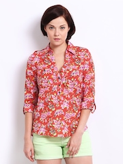 Vero Moda Women Red & Pink Floral Print Top