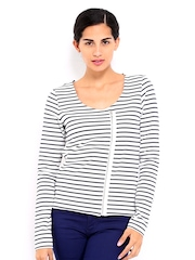 Vero Moda Women White & Black Striped Jacket