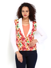 Vero Moda Women White Floral Printed Blazer