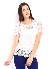 Vero Moda Women White Lace Top