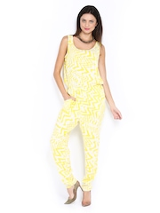 Vero Moda Women Yellow & White Printed Jumpsuit