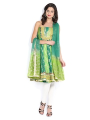 Vishal Prints Green Anarkali Poly Cotton Semi-Stitched Dress Material