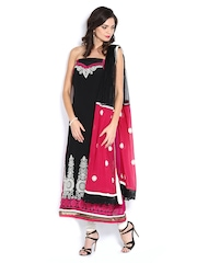 Vishal Prints Black & Magenta Georgette Semi-Stitched Dress Material