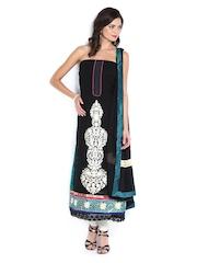Vishal Prints Black & Green Georgette Semi-Stitched Dress Material