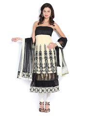 Vishal Prints Cream Coloured & Black Anarkali Georgette Semi-Stitched Dress Material