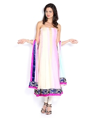 Vishal Prints Light Pink & Cream Coloured Chiffon Semi-Stitched Dress Material