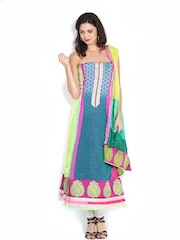 Vishal Prints Green & Pink Chiffon Semi-Stitched Dress Material