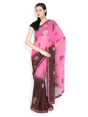 Pink & Brown Printed Georgette Fashion Saree Vishal Prints