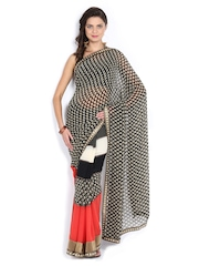 Black & Beige Printed Georgette Fashion Saree Vishal Prints