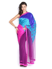 Vishal Prints Blue & Purple Art Silk Fashion Saree
