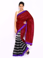 Vishal Prints Red & Grey Printed Art Silk Fashion Saree