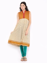 Vishudh Women Cream Coloured & Orange Printed Anarkali Kurta