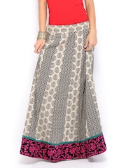 Vishudh Women Beige & Black Printed Maxi Skirt