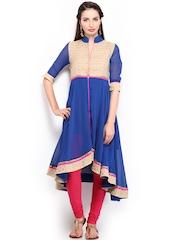 Women Beige & Blue Anarkali Kurta Vishudh