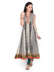 Vishudh Women Black & Cream-Coloured Printed Anarkali Kurta