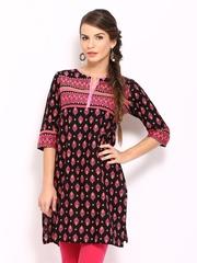 Vishudh Women Black & Pink Printed Kurta