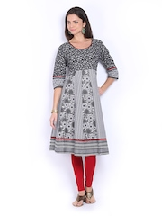 Vishudh Women Black & White Printed Anarkali Kurta