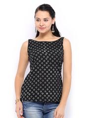 Vishudh Women Black & White Printed Kurti