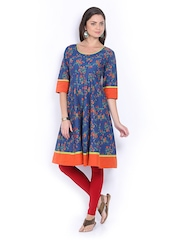 Vishudh Women Blue & Orange Printed Anarkali Kurta