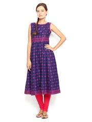 Vishudh Women Blue & Pink Printed Kurta