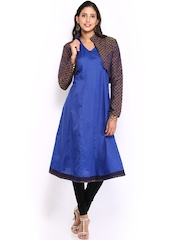 Women Blue Anarkali Kurta With Jacket Vishudh