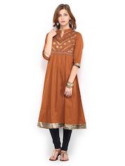 Vishudh Women Brown Printed Anarkali Kurta