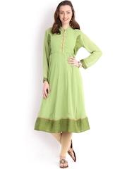 Vishudh Women Green Anarkali Kurta