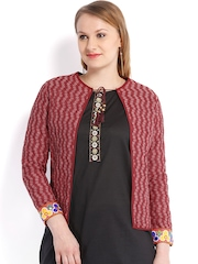 Vishudh Women Maroon Printed Jacket