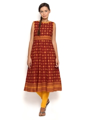 Vishudh Women Maroon & Orange Printed Anarkali Kurta