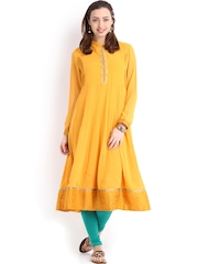 Vishudh Women Mustard Yellow Anarkali Kurta