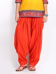 Vishudh Women Orange Patiala Pants