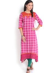Vishudh Women Pink Checked Kurta