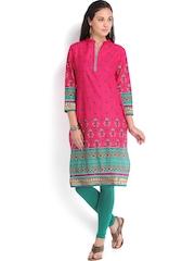 Vishudh Women Pink Printed Kurta
