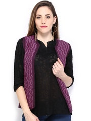 Vishudh Women Purple Printed Jacket