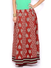 Vishudh Women Red & Beige Printed Maxi Skirt