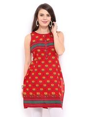 Vishudh Women Red Printed Kurta