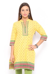 Vishudh Women Yellow Printed Kurta
