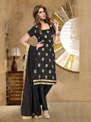 Viva N Diva Women Black Embroidered Churidar Kurta with Dupatta